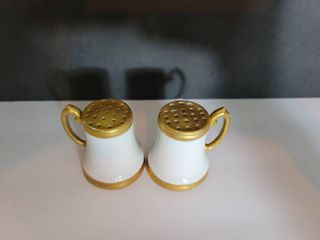 Gold Tone Painted Salt and Pepper Shakers   See Photos for Brand