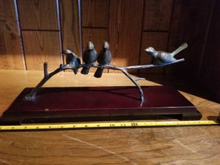 Metal Birds on Branch On Wooden Display  Small Amount of Wear and Tear