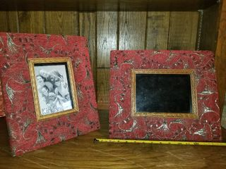 Pair of large Red Fabric Picture Frames