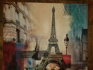large Paris Themed Canvas Wall Decor
