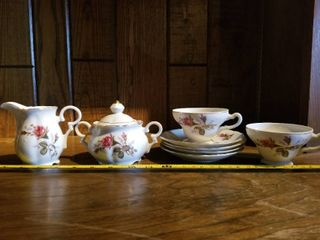 Adorable Floral Tea Set  Four Saucers  Two Tea Cups  Sugar Bowl  Creamer