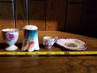 lot of Assorted Porcelain Pieces  Floral Rose Cup  Strawberry Salt or Pepper Shaker  Mini Rose Tea Cup  Flower Shaped Saucer