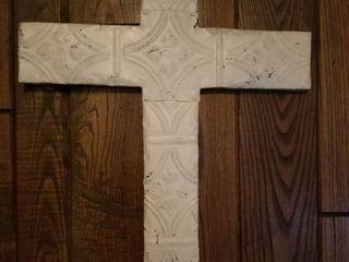 Pressed Sheet Metal Over Wood Cross Wall Decor