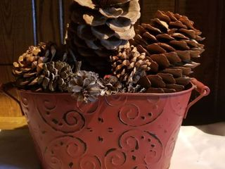 Red Tin Bucket with large and Small Pine Cones