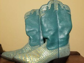 light Blue Twisted Boots  Size 8 1 2