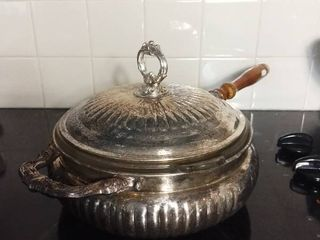 Metal Soup Tureen with Wooden Handle and Glass Pyrex Dish