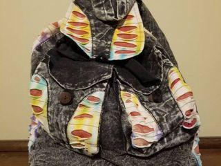 Fabric and Denim Drawstring Backpack