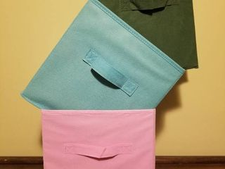 lot of Three Colorful Collapsible Organization Totes  11 Inches X 11 Inches
