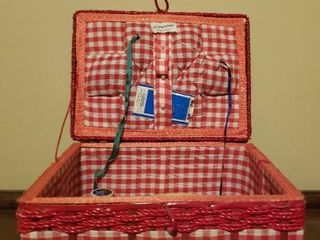 Red Checkered JC Penney Sewing Basket Including Sewing Supplies