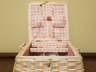 Pink Checkered JC Penney Sewing Basket Including Sewing Supplies