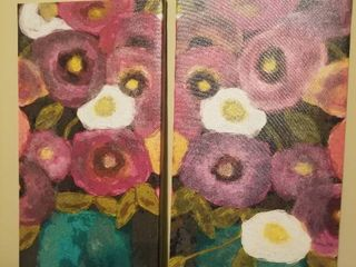 Pair of Floral Canvas Wall Decor