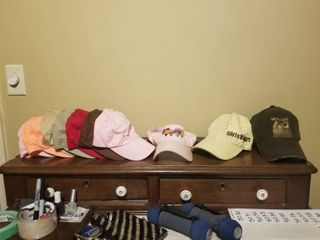 lot of Seven Plain Colored Hats  One Hot Air Balloon Visor  John Deere Girls Dig Dirt and Ducks Unlimited