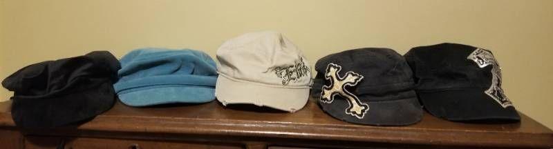 lot of Five Hats  Black Velvet  Blue Velvet  Elvis and Two Crosses Bejeweled