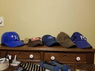 lot of Four Ball Caps and One KC Baseball Helmet  Miller High life  Ford  Harley Davidson  KC Royals