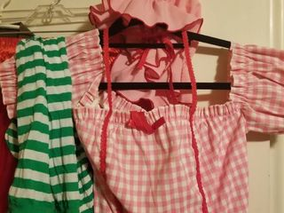 One Checkered Pink Costume Dress with Hat and Socks