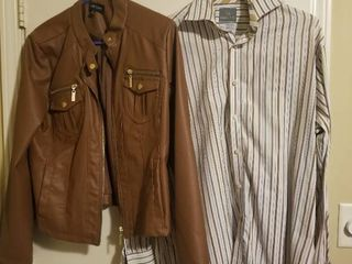 Pleather Jacket with Nice Striped Button Up Shirt