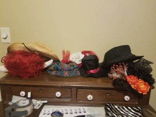 lot of Seven Festive Hats  Cowgirl hat  Small Tophat  Flowers  Etc
