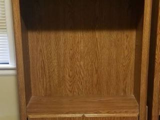 large Solid Wood Shelves and Cabinet With Extra Shelf  71 Inches Tall 30 Inches Wide 12 Inches Deep