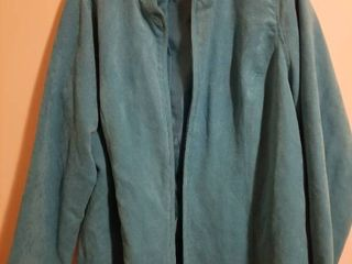 Blue Studio Works Faux Suede Jacket with Silk Scarf