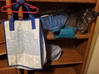 lot of Reusable Bags  Blue Cooler Bag  Blue Mesh Shower Caddy  Tranparent bag  Striped lancome Bag  light Blue Reusable Grocery Bag