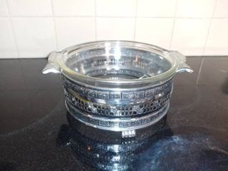Small Round Soup Metal Tureen with Cracked Glass Pyrex Bowl