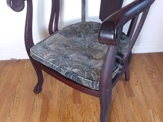 Early 1900s Jaccobean Claw Foot Wooden Chair with Original Patterned Cushion