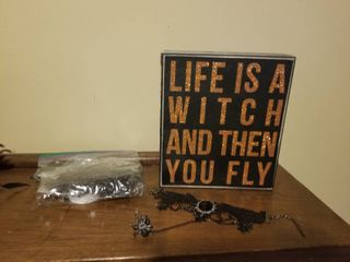lot of Halloween Items  Witch Sign  Bag of Spiders  lace Bracelet with Spider Ring