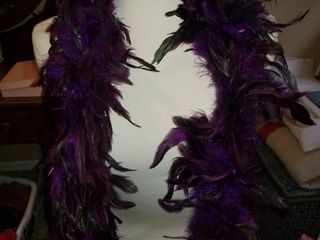 Two Feather Boas  Purple and Red  Dress Form NOT included