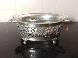 Metal Casserole Tureen with Intricate Handles and Glass Pyrex Dish