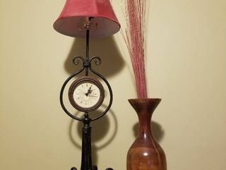 lot of Cute Decor  Tall Clock lamp Tested and Working and Wooden Vase with Foliage