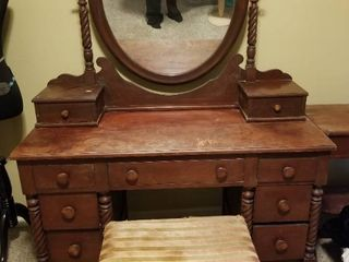 Beautiful Vintage Solid Wood Vanity  Needs Some TlC  Bench Included