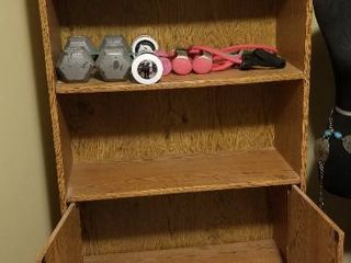 Wooden Shelf And Cabinet  72 Inches Tall 28 Inches Wide 12 inches Deep  Fitness Equipment NOT Included