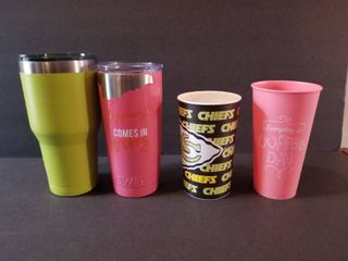 Two Tumblers and Two Cups  Faded Chiefs Cup  Faded Pink Swig Tumblr  Green Ozark Trail Tumbler  Pink Cup