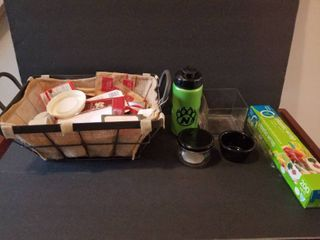 lot of Miscellaneous Kitchen Items  Black Ramikan  Small Glass Jar  Coffee Basket with K Cups  Plastic Wrap