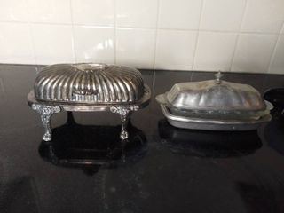 lot of 2 Metal Butter Dishes   Rodgers Silver Company Queen Anne Style with lion Head and The Wilton Company