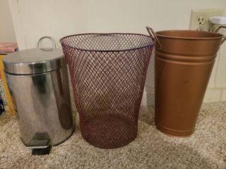 lot of Three Bathroom Trash Cans