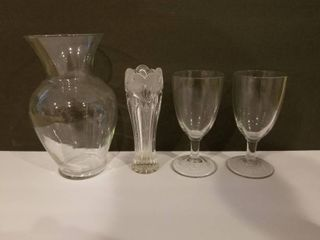 lot Misc Glass  Two Glass Vases  Two Glass Cups