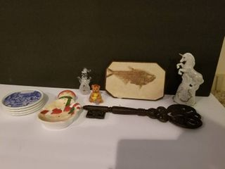 lot of Misc Items  Small Artmark Bear Figurine  Metal Key  Kansas City Hallmark Coasters  Concord Collections Christmas Snowman  Unicorn Bell  Herring Fossil