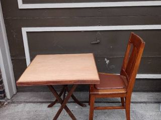 Vintage Wooden Card Table With Padded Wooden Chair