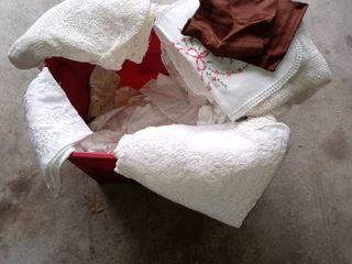 Tote lot Of Vintage linens lace Table Cloths Place Mats Etc