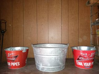 lot Of 3 Metal Pails 2 Budweiser And 1 Galvanized