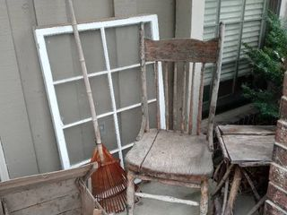 Cute little 5 Pice Rustic Country Sitting Porch Scene Chair Rake 8 Payned Window Etc