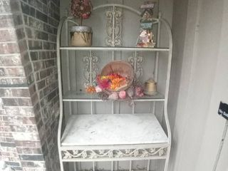 Metal Display Rack With 2 Glass Shelves And 1 Marble Shelf Contents Included