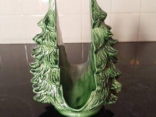Artist Homemade Ceramic Fired Green Christmas Tree Napkin Holder Marked Made in 1991