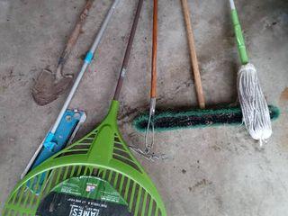 lot Of 5 Random Home And Garden Tools Push Broom  Big Face Rake Etc
