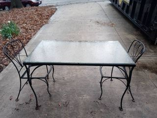 Wrought Iron Glass Top Patio Table With 2 Chairs