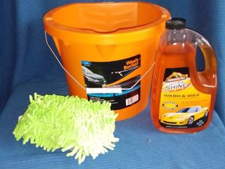 Car Washing Bucket Sponge and ArmorAll Wash and Shine