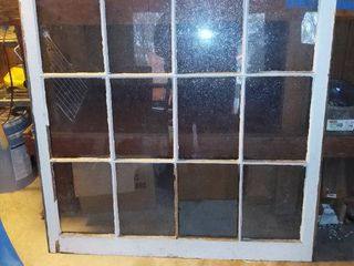 Wood 12 Pane Window  1 Pane Broken