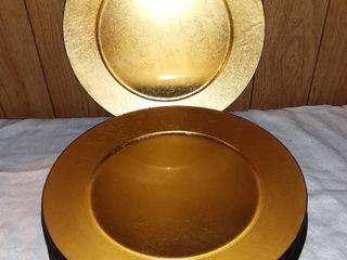 Set of 6 Sasaki laquerware Chargers  Black And Gold