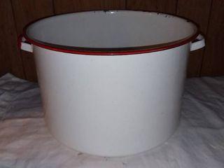 Vintage Red and White Enamel Pot